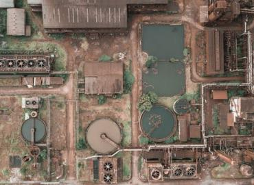 Ariel photo of chemical containers.